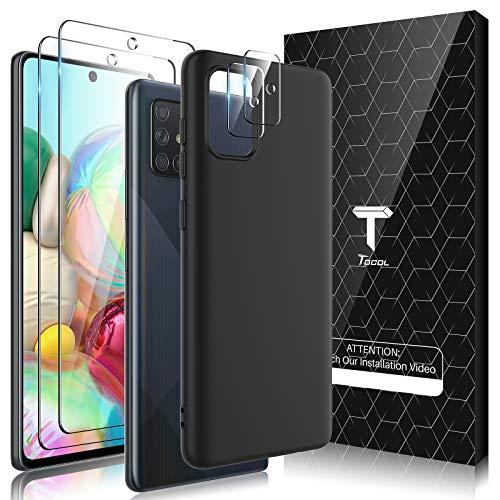 TOCOL Cover Compatibile Samsung Galaxy A71 4G, 2 Pezzi Pellicola Protettiva in Vetro Temperato 2 Pezzi Vetro Fotocamera, Morbida Silicone Custodia Sottile Antiurto Protezione Case, Nero