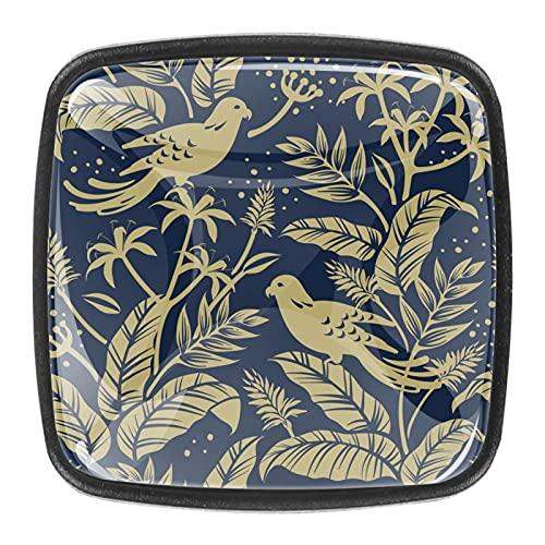 Gold Birds in The Nature - Pomos para cajones (4 unidades), diseño de pájaros en la naturaleza