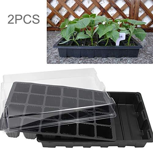Yardwe Bandejas de Inicio de pl/ántulas Plantas para Plantas de Cultivo Caja de macetas de vivero Bandeja para brotes de Semillas con c/úpula y Base de 12 c/élulas Negro