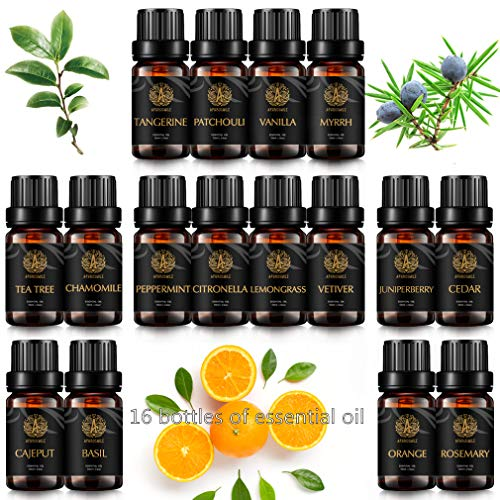 16 tipos aromaterapia vainilla aceite esencial set para difusor, 100% puro aceite esencial kit para Humidifier- manzanilla, cedro, pachulí, mirra, menta, árbol de té, albahaca.Aceites Esenciales kit
