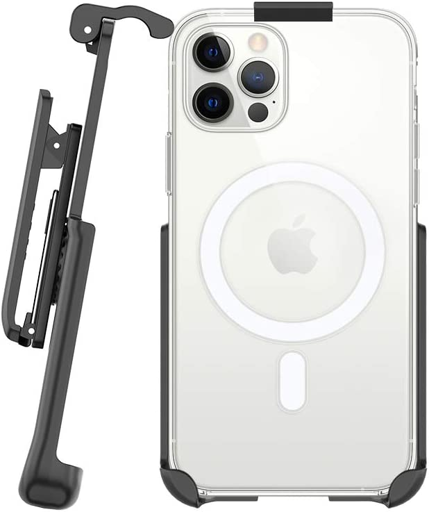 BELTRON Belt Clip Holster Compatible with Apple Clear Case for iPhone 12, iPhone 12 Pro with MagSafe - Features: Built in Kickstand (Holster Only, Case is NOT Included)