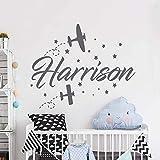 wukongsun Sticker Mural prénom garçon - Sticker Mural Avion Enfant - Applique d'un...