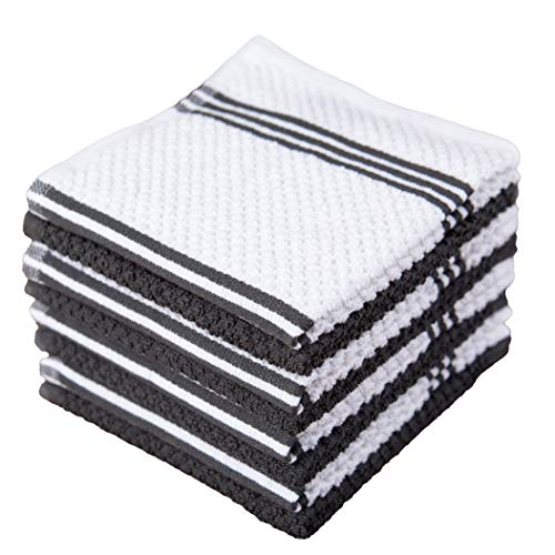 Sticky Toffee Cotton Terry Kitchen Dishcloth, 8 Pack, 12 in x 12 in, Gray Stripe