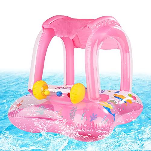 FORMIZON Baby Schwimmring, Aufblasbares Schwimmen Ring, Aufblasbarer Schwimmhilfe mit Sonnendach und Schwimmsitz, Baby Pool Schwimmring für Kinder Jungen Mädchen(Rosa)