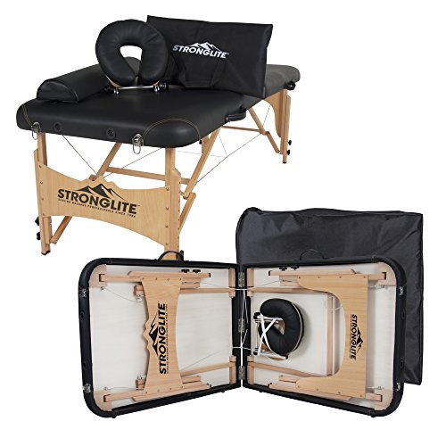 """STRONGLITE Portable Massage Table Olympia - Double Knobs, Package w/ Adjustable Face Cradle, Face Pillow, Half Round Bolster, Microfiber Sheet Set & Carry Case (28x73"""")"""