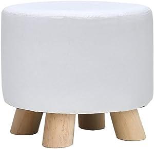 Sgabello da Trucco in Legno massello PU Durevole con poggiapiedi Rotondo Cambiabile Scarpiera da Tavolo con Pouf Piccolo ottomano Pieghevole per Cucina - Bianco