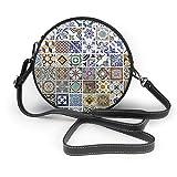 BAODANLA Bolso redondo mujer Women's Round Vegan Leather Crossbody Satchel Shoulder Bag Portuguese Traditional Tile Pattern Circle Tote Shopping Bag For Ladies Sling Bag