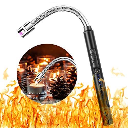 Sinwind Mechero electrónico de arco eléctrico, encendedor de velas electrónico, encendedor de velas con interruptor de seguridad para fuegos artificiales, cocina, barbacoa (negro A)