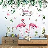 Wandtattoo für Schlafzimmer, Tropischer Dschungel und Flamingo Wandsticker als Wanddekoration für Wohnzimmer Kinderzimmer 150cm×130cm | Deko Wand Aufkleber für Wand Fenster Flur Schlafsaal