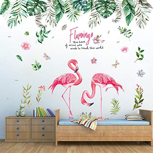 Pdrui Wandtattoo für Wohnzimmer, Tropischer Dschungel und Flamingo Wandsticker als Wanddekoration für Schlafzimmer Kinderzimmer 150cm×130cm Deko Wand Aufkleber für Wand Fenster Flur Schlafsaal