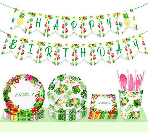 JeVenis 33 piezas de banner de cumpleaños de flamenco, platos hawaianos de fiesta de cumpleaños, platos de fiesta de flamenco, platos hawaianos, suministros de fiesta tropicales