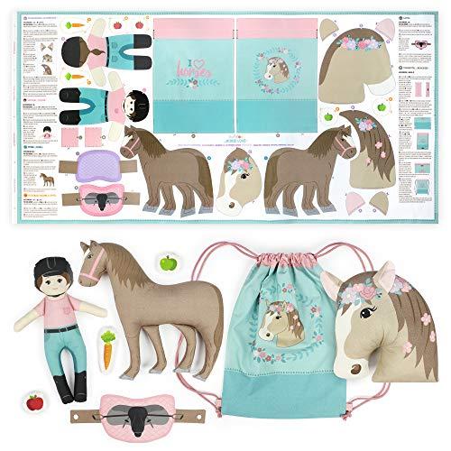 kullaloo KINDERLEICHT - Cut & Sew Stoff als Panel auf Popeline/Baumwolle zum selber Nähen (Horse Love)