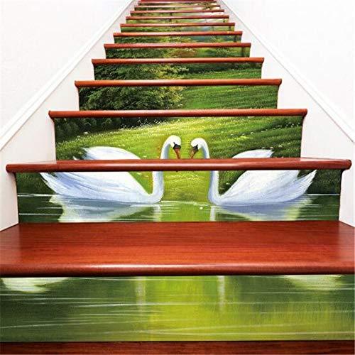 12 unids escaleras de baldosas pegatina autoadhesiva removible azulejos de cerámica PVC escalera papel tapiz decorada vinilo escalera decoración del hogar 100 * 18 cm ( Color : 002 Stair Stickers )