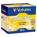 Verbatim DataLifePlus 94839 DVD Rewritable Media - DVD+RW - 4X - 4.70 GB - 10 Pack Slim Case - 2 Hour Maximum Recording Time