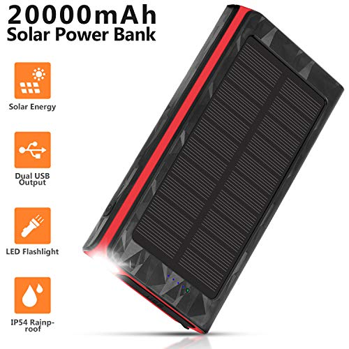 Solar Charger 20000mAh, Portable Phone Charger External Battery Pack, Compatible with iPhone Samsung Tablets & More, Type-C and Micro USB Inputs, 3 Outputs, Flashlight, Lanyard, IP54 Rainproof