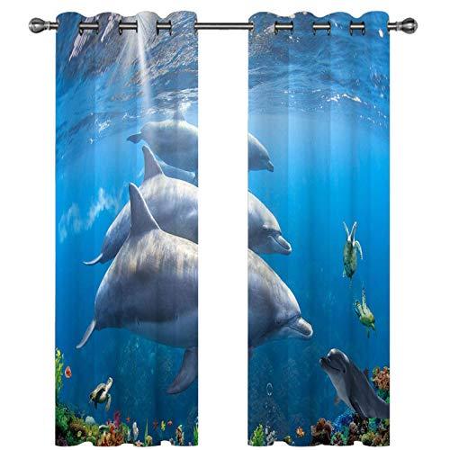 FACWAWF Ocean World 3D Tridimensional Océano Vista Real Hogar Sala De Estar Ventana De Bahía Dormitorio Poliéster Cortina De Tela De Sombreado 150x166cm(2pcs)