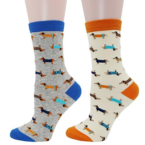 Pomlia® Damen Socken Hunde Motive Dackel Socken Dog Socks (OneSize, D04)