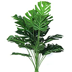 Artificial Plant 29″ Fake Areca Palm Silk Tree Greenery Perfect Indoor Outdoor Artificial Tropical Deliciosa Leaves Faux Turtle Tree for Home Garden Office Store Decoration (Green 18 Stems Leaves)