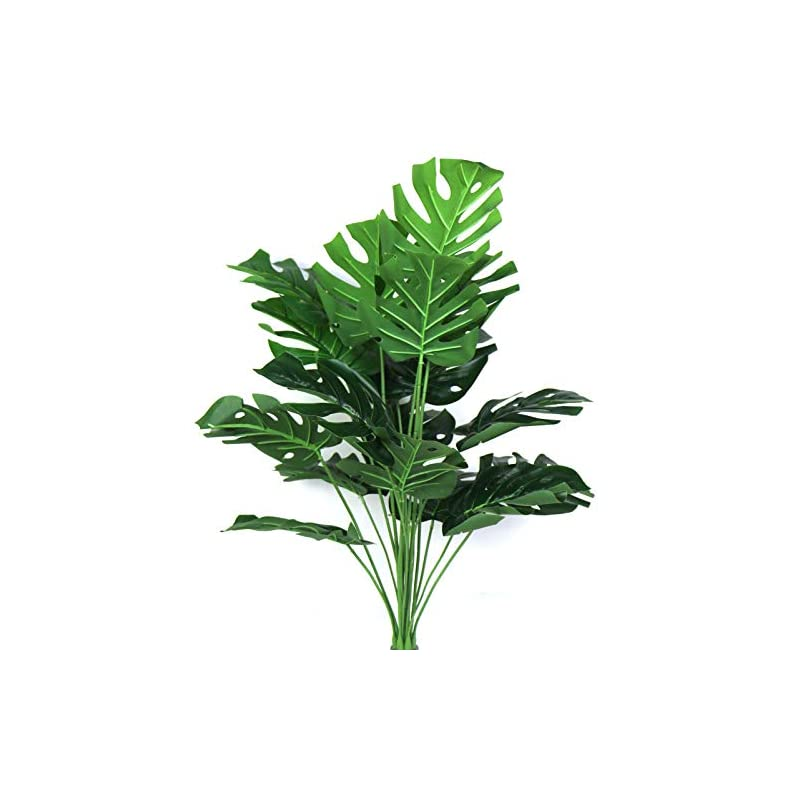 """silk flower arrangements artificial plant 29"""" fake areca palm silk tree greenery perfect indoor outdoor artificial tropical deliciosa leaves faux turtle tree for home garden office store decoration (green 18 stems leaves)"""
