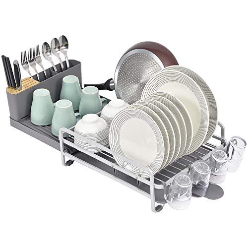Kingrack Escurridores de Platos, Ampliable para secar Platos con Soporte para Cubiertos y Soporte para Vasos extraíbles, Estante de Platos de Aluminio Ajustable, escurridor de Cubiertos