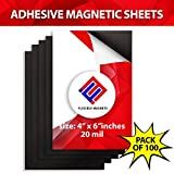 Self Adhesive Magnetic Sheets - Make Anything a Magnet! Magnetic Adhesive Sheets -Premium Quality Peel and Stick Magnets by Flexible Magnets (4x6 inches)