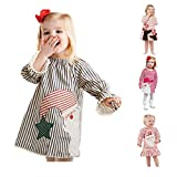AKIWOS Toddler Baby Girl Christmas Dress Long Sleeve Crew Neck Stripe Santa Prints Casual...