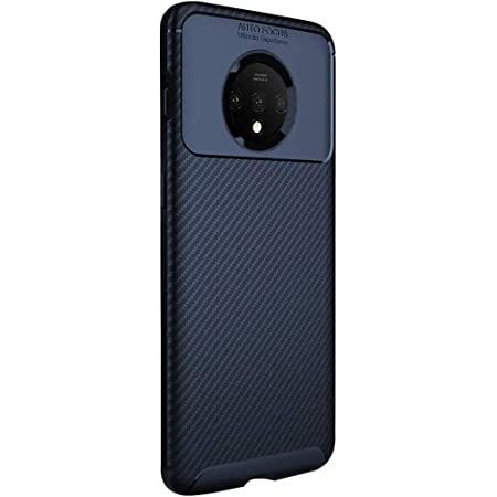 TheGiftKart Rugged Carbon Fibre TPU Armor Back Cover Case for OnePlus 7T (Blue)