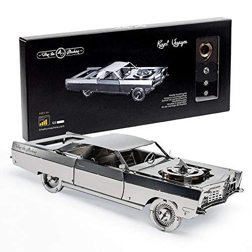 Model Car Kit - 3D Model Kit Royal Voyager - Moving Wind-Up Retro Car Model | 3D Puzzle for Adults - Metal DIY Kit - 127ps, 175x72x44mm