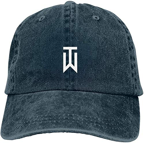 Qhghdgysd Unisex Tiger_Woods_Logo Retro Cowboy Hat Sports Baseball Cap Adjustable Classic Cotton Adult Hat for Man Women,Navy,One Size