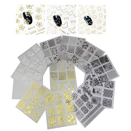 XMASIR 20 Blatt Nagelaufkleber für Frauen 3D Nail Art Aufkleber Selbstklebende DIY Nail Art Decals Dekorationen Geschenke für Frauen Mädchen Nail Decals Kit(Silber/Gold/Schwarz/Weiß)