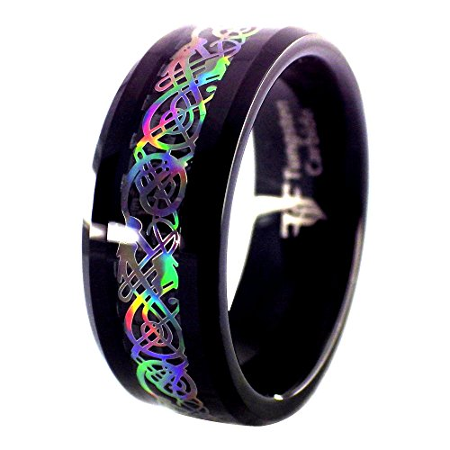 Fantasy Forge Jewelry Black Tungsten Rainbow Hologram Style Celtic Dragon Ring Womens Mens Size 11