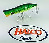 Halco - Roosta popper 135 h52, medida 13,5 cm, color verde fluorescente rayas