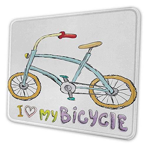 Fahrrad DIY Mauspad Ich liebe meinen Fahrrad Zitat Druck mit einem kleinen modischen Kinderfahrrad mit Pedalen Cartoon geeignet für Büro Mauspad Multi