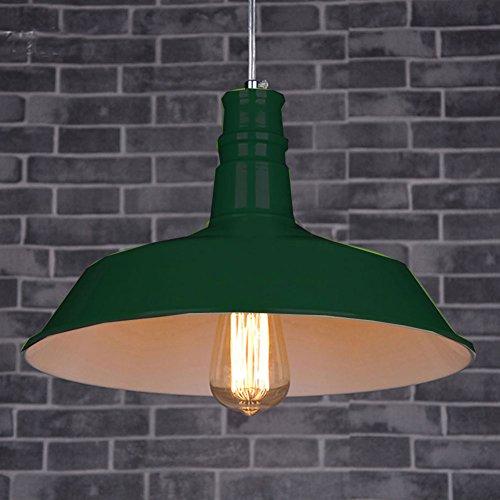 Cozyle Style industriel Loft Vintage Pendentif Dôme en métal suspendu clair Vert foncé 36cm