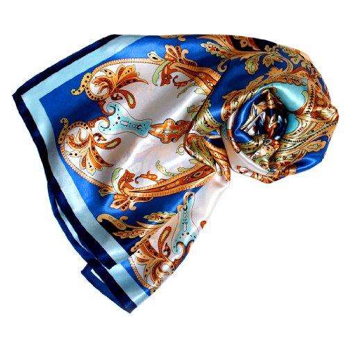Lorenzo Cana Luxus Seidentuch aufwändig bedruckt Tuch 100% Seide - 90 cm x 90 cm harmonische blau gold weiss Farben Damentuch Schaltuch 8902488