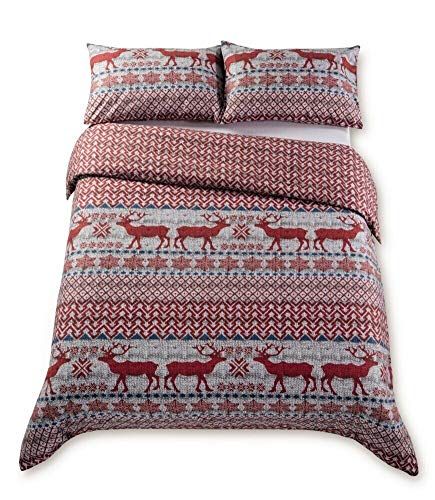 Kirkton House Kids Novelty Xmas Red Reindeer Brushed Cotton Winter Duvet Cover Set (King)
