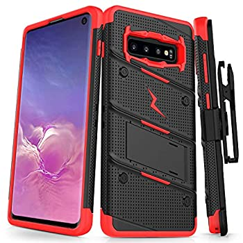 ZIZO Bolt Series for Galaxy S10 Case with Kickstand Holster Lanyard - Black & Red