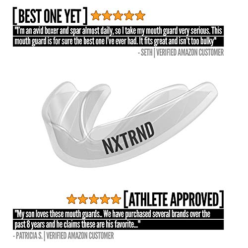 2 Pack Nxtrnd Classic Mouth Guard Sports – Thin Professional Mouthguards for Boxing, Football, MMA, Wrestling, Lacrosse, and Other Sports, Fits Adults and Youth 11+, Mouth Guard Case Included