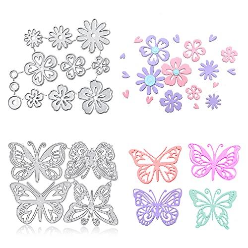 Keleily Troqueles de Corte Metal,15Piezas Troqueles de Metal Dies Corte Troqueles de Acero al Carbono Forma de flor mariposa Álbum de recortes de bricolaje Troqueles de papel de relieve decorativo