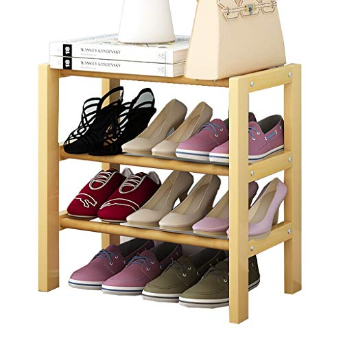 Xiaoli Zapateros Estante for Zapatos Estantes de Madera for el hogar Apilables Color de Madera Original Armario Organizador (Size : Three Layers 50cm)