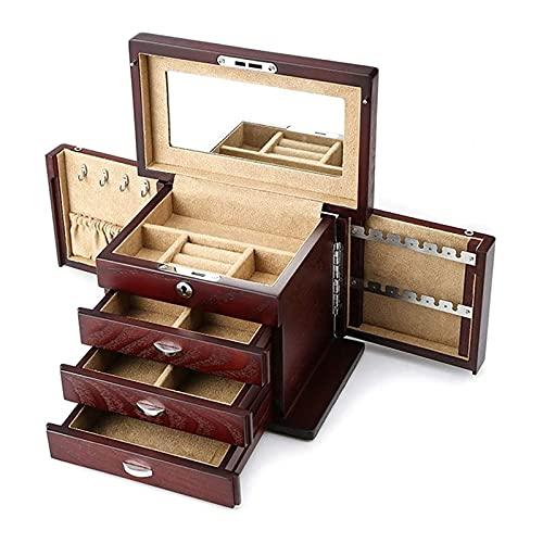 LSLS Caja joyero Joyería de Madera Caja de Almacenamiento 4 Capas y 3 cajones Joyería Oganiser con Espejo y Bloqueo para niñas y Mujeres Marrones Organizador de Joyas
