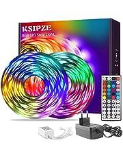 Ksipze Tiras LED 15 metros RGB que Cambia de Color 5050 Luces LED Flexibles con Control Remoto IR de 44 Teclas y Caja de Control Kit de Tiras de Luces LED para Dormitorio Cocina Decoración