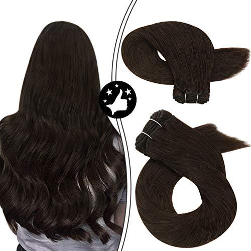 Moresoo Sew in Human Hair Extensions Hair Weft Bundles 24 Inch Remy Hair Weaves Color #2 Darkest Brown Straight Human Hair Weft Unprocessed Hair Extensions 100 Gram