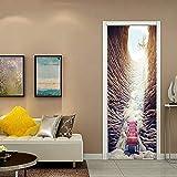 WIGGONJDW Etiqueta de la Puerta,El Trono de Metro Puerta estéreo 3D Pegatinas de Pared para la decoración del hogar Etiquetas Autoadhesivas Papel Tapiz removible Impermeable