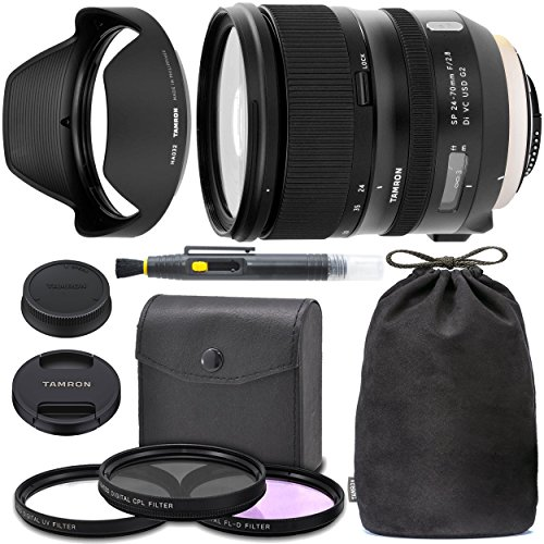 TamronSP 24-70mm f/2.8 Di VC USD G2 Lens for Nikon F with Tamron Case, Original Hood, Ultraviolet Filter (UV) Polarizing Filter (CPL) Fluorescent Daylight Filter (FL-D) - International Version