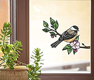 Bird - Chickadee with Apple Blossom - Stained Glass Style See-Through Vinyl Window Decal - Copyright 2015 Yadda-Yadda Design Co. (Size Choice) (MD 6