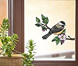 Bird - Chickadee with Apple Blossom - Stained Glass Style See-Through Vinyl Window Decal - Yadda-Yadda Design Co. (Size Choice) (Med 6'w x 4.75'h)