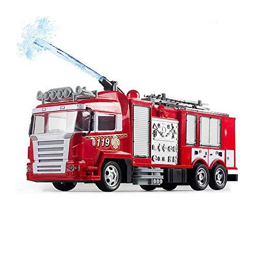 YLJYJ Control Remoto Rescate Camión de Bomberos Bomba de Agua RC Juguete en Aerosol Escalera de Rescate Extensible Luces Intermitentes Sirenas Niños Gir (automóvil Inteligente)
