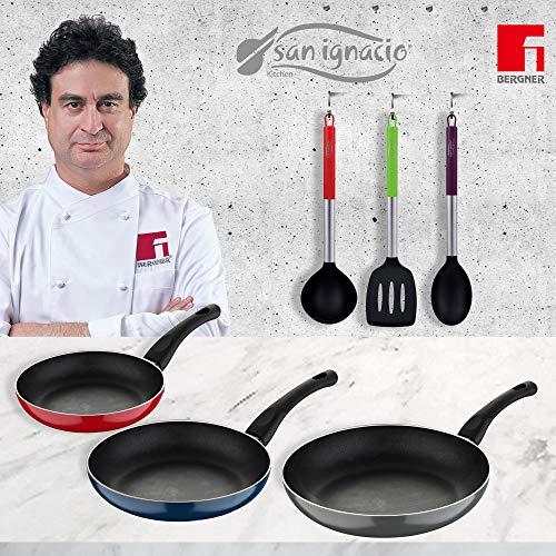 Bergner Jumpy Lot de 3 poêles (20 + 24 + 28 cm) + 3 ustensiles de cuisine en aluminium pressé, convient pour induction