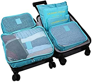 Cloudsky 6 Set/ 7 Set Packing Cubes, Travel Storage Bags Multifunctional Clothing Sorting Packages, Travel Packing Pouches, Luggage Organizer Pouch, Shoe Bags